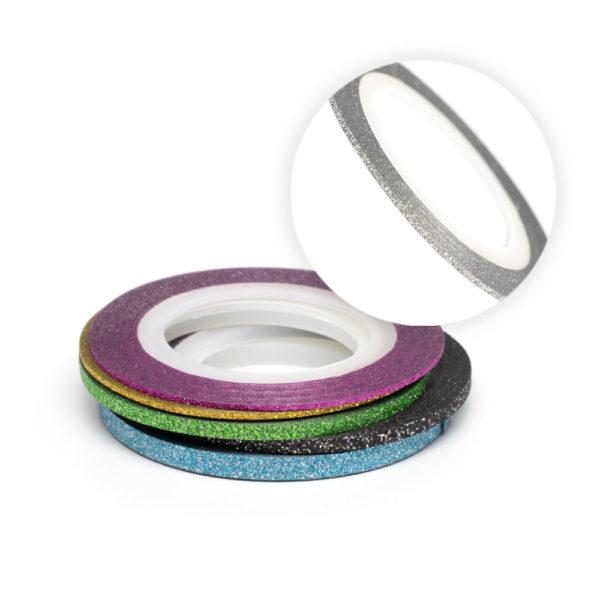 Нити RuNail № 12 серебро в цветную полоску