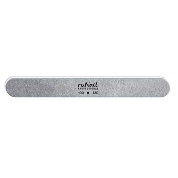 Пилка RuNail для искусственных ногтей серая закруглённая 100/120