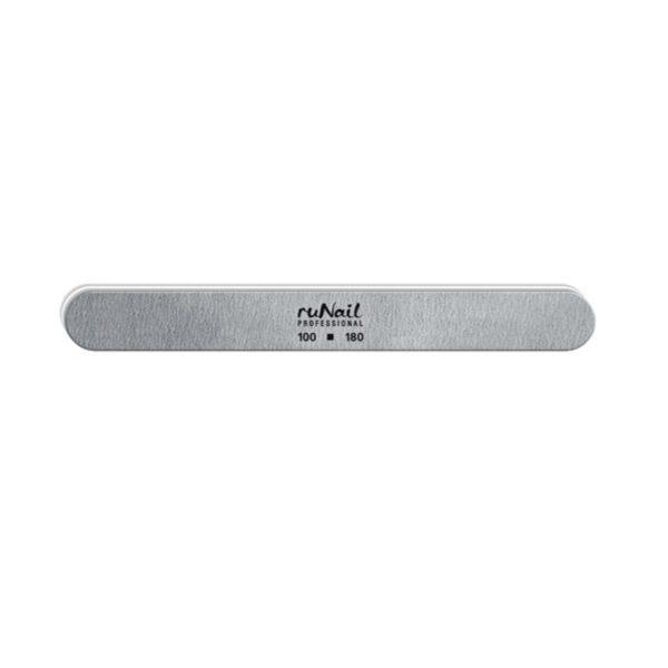 Пилка RuNail для искусственных ногтей серая закруглённая 100/180